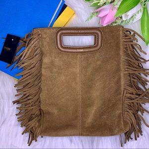 MAJE Suede Handbag with Fringe Camel Brown Tan